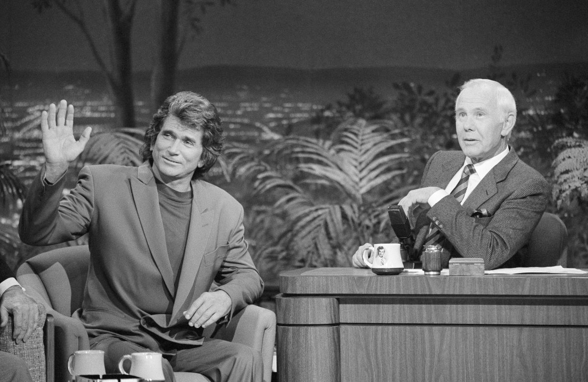 THE TONIGHT SHOW STARRING JOHNNY CARSON -- Aired 2/15/91 -- Pictured: (l-r) Actor Michael Landon during an interview with host Johnny Carson on February 15, 1991