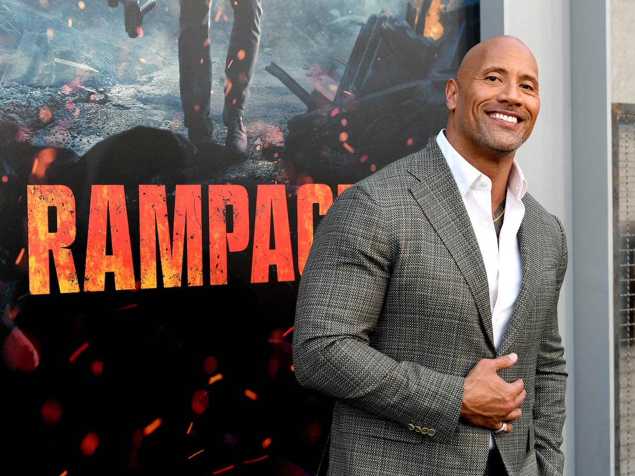 """Dwayne Johnson at the premiere of Warner Bros. Pictures' """"Rampage"""""""