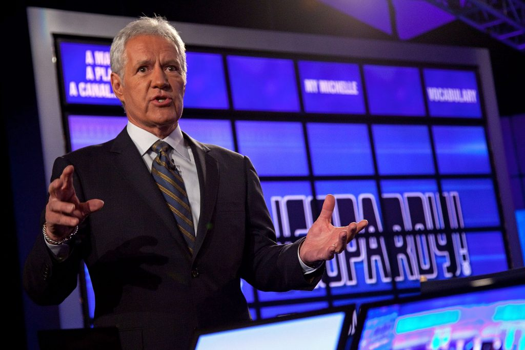 Alex Trebek attends a press conference to discuss the upcoming Man V. Machine 'Jeopardy!' competition at the IBM T.J. Watson Research Center