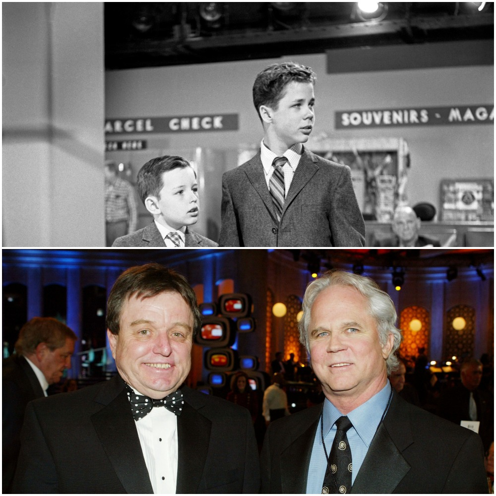 Top: Jerry Mathers and Tony Dow in a 1958 scene from 'Leave It to Beaver'; Bottom: Jerry Mathers and Tony Dow in 2007 at the 2nd Annual TV Land Awards