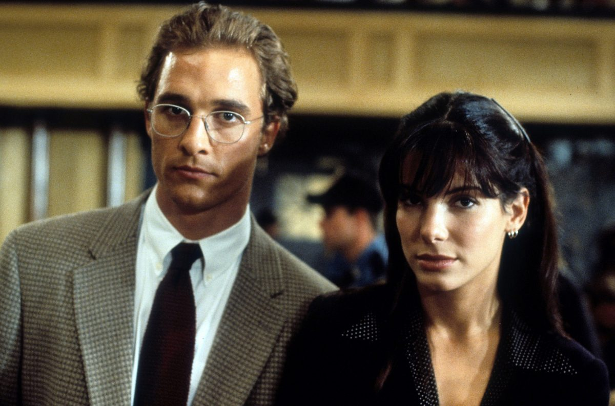 Matthew McConaughey and Sandra Bullock in a courtroom scene from A Time to Kill