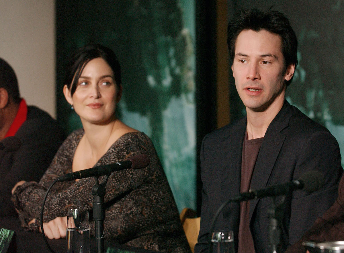 Carrie-Anne Moss and Keanu Reeves at a press conference for 'The Matrix Revolutions'