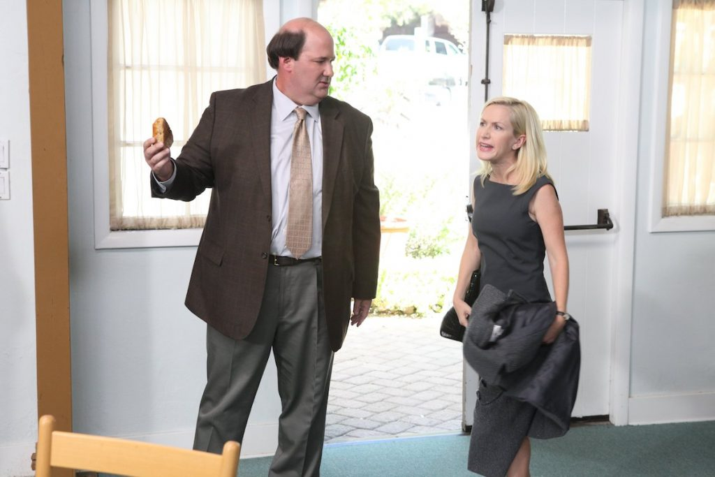 Brian Baumgartner and Angelina Kinsey in an episode of 'The Office'