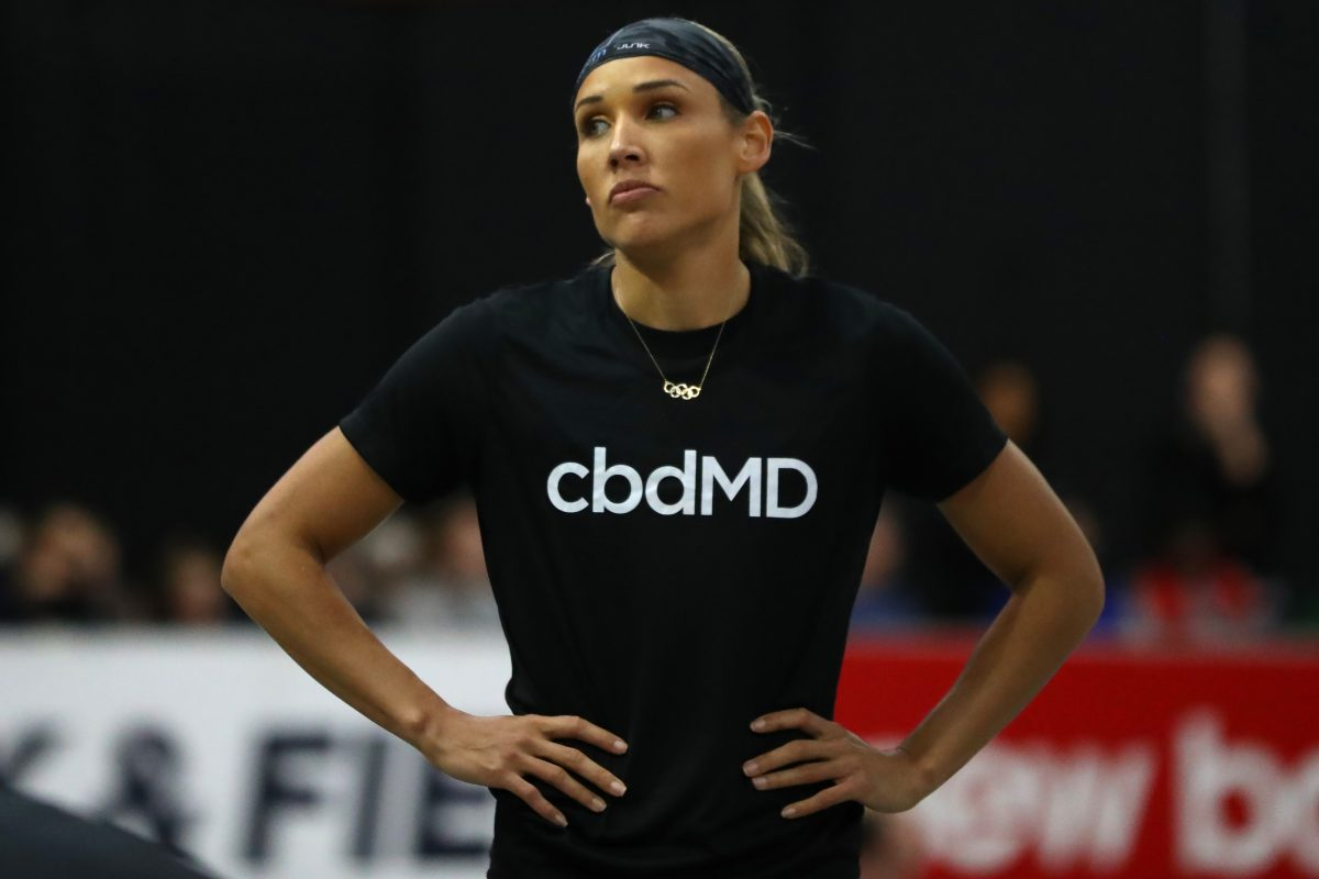 Lolo Jones of the United States looks on during the New Balance Indoor Grand Prix