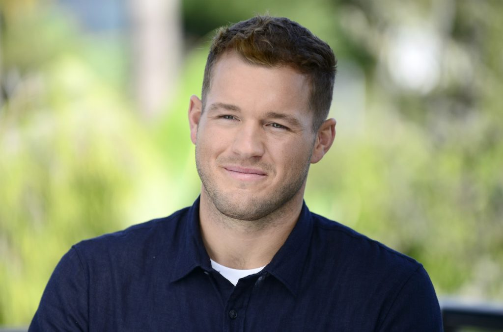 Colton Underwood in a blue shirt