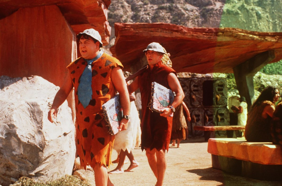 Fred Flintstone and Barney Rubble walk through the quarry, in the live-action move, 'The Flintstones' in Viva Rock Vegas