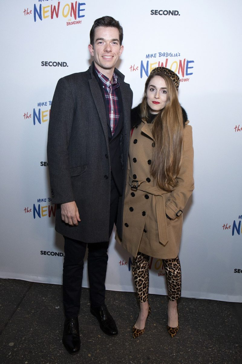 John Mulaney and Anna Marie Tendler stop for a photo before attending 'The New One' at Cort Theatre