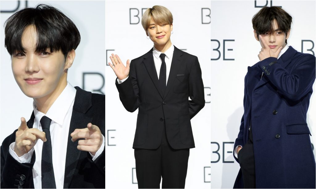 J-Hope, Jimin, and V of BTS at the band's 2020 press conference for their album 'BE'