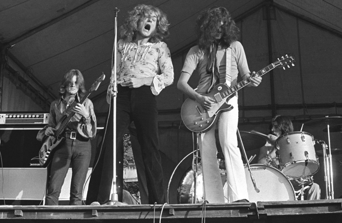 Led Zeppelin performing on an outdoor stage, 1969