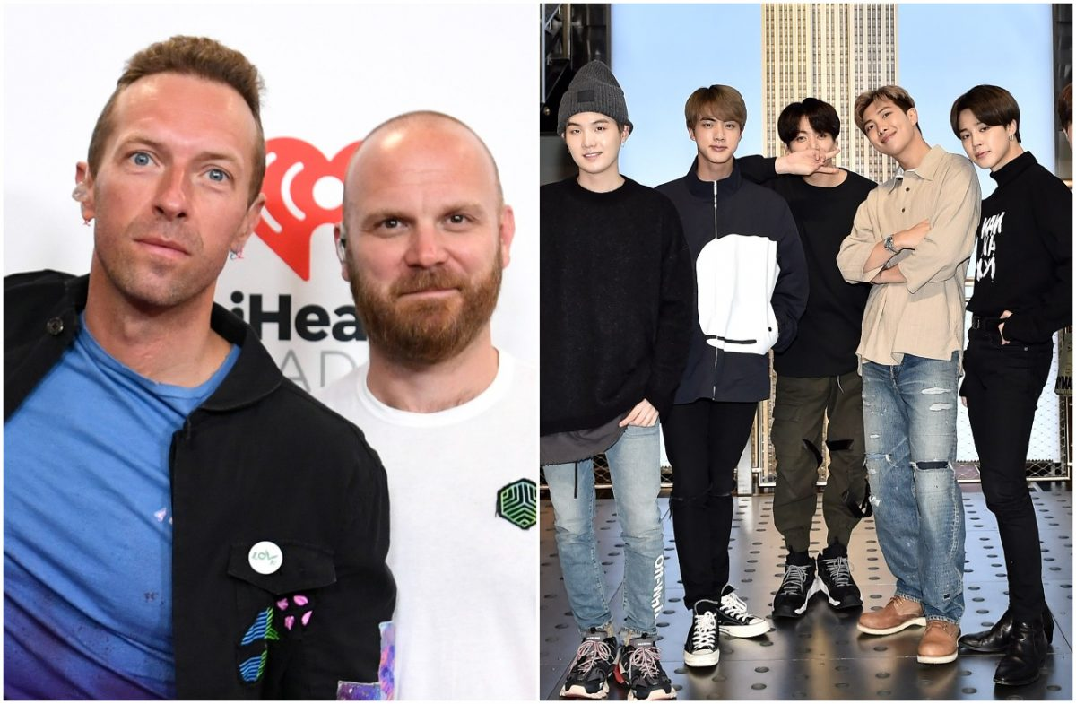 Photo of Coldplay members next to photo of BTS members
